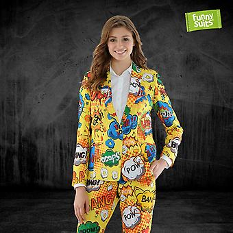 Pow Wow comic ladies suit Bäm Wham crash 2-piece costume deluxe EU SIZES
