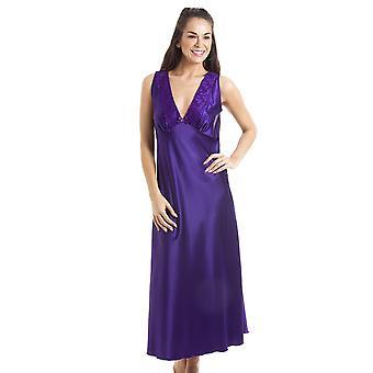 Camille Luxury Purple Lace Satin Chemise