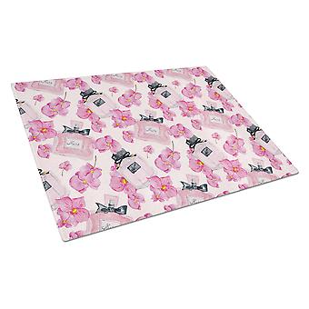 Watercolor Pink Flowers and Perfume Glass Cutting Board Large