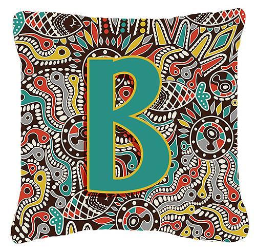 Alphabet Toile Décoratif Tribal Tissu B Initial Rétro Lettre Oreiller 7yYg6bfv