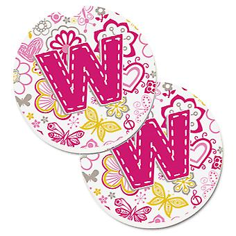 Letter W Flowers and Butterflies Pink Set of 2 Cup Holder Car Coasters
