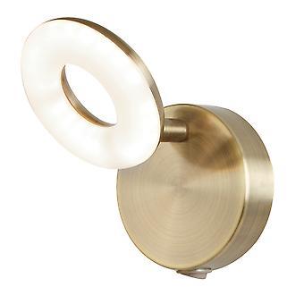 Searchlight 8901AB Donut 1 Light Wall Spotlight Antique Brass, Acrylic