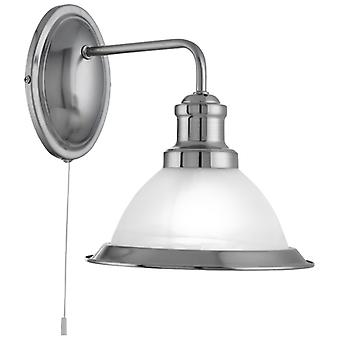 Bistro Satin Silver Wall Light With Acid Glass - Searchlight 1481SS