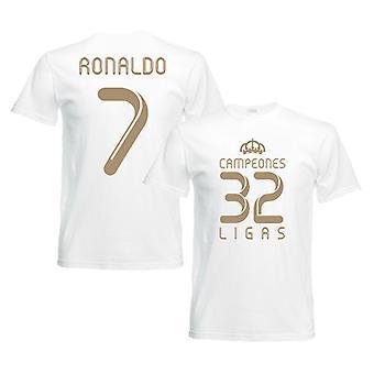 2012 real Madrid Champions T-Shirt (hvit) - Ronaldo 7