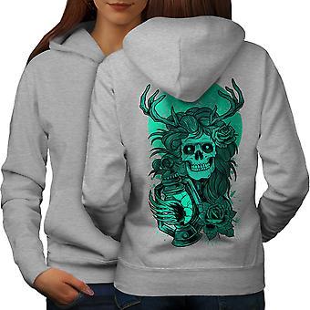 Face Nature Girl Skull Women GreyHoodie Back   Wellcoda