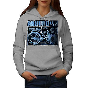 Ride Around World Biker Women GreyHoodie | Wellcoda