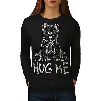 Knus mig bamse kvinder BlackLong ærmet T-shirt | Wellcoda