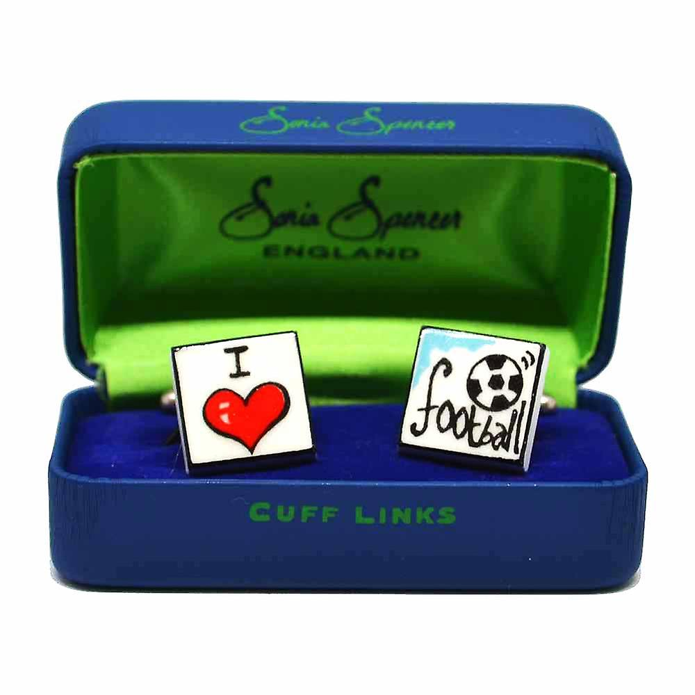 I Love Football Cufflinks by Sonia Spencer, in Presentation Gift Box. Hand painted
