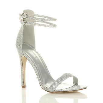 Ajvani женские высокие пятки едва там двойной ремень пряжки партия сандалии Обувь