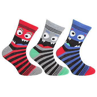 Childrens/Kids Cotton Rich Monster Socks (3 Pairs)