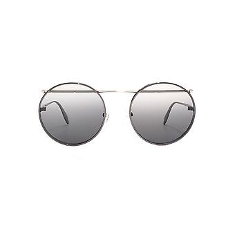 Alexander McQueen Piercing Bar Metal Round Sunglasses In Ruthenium