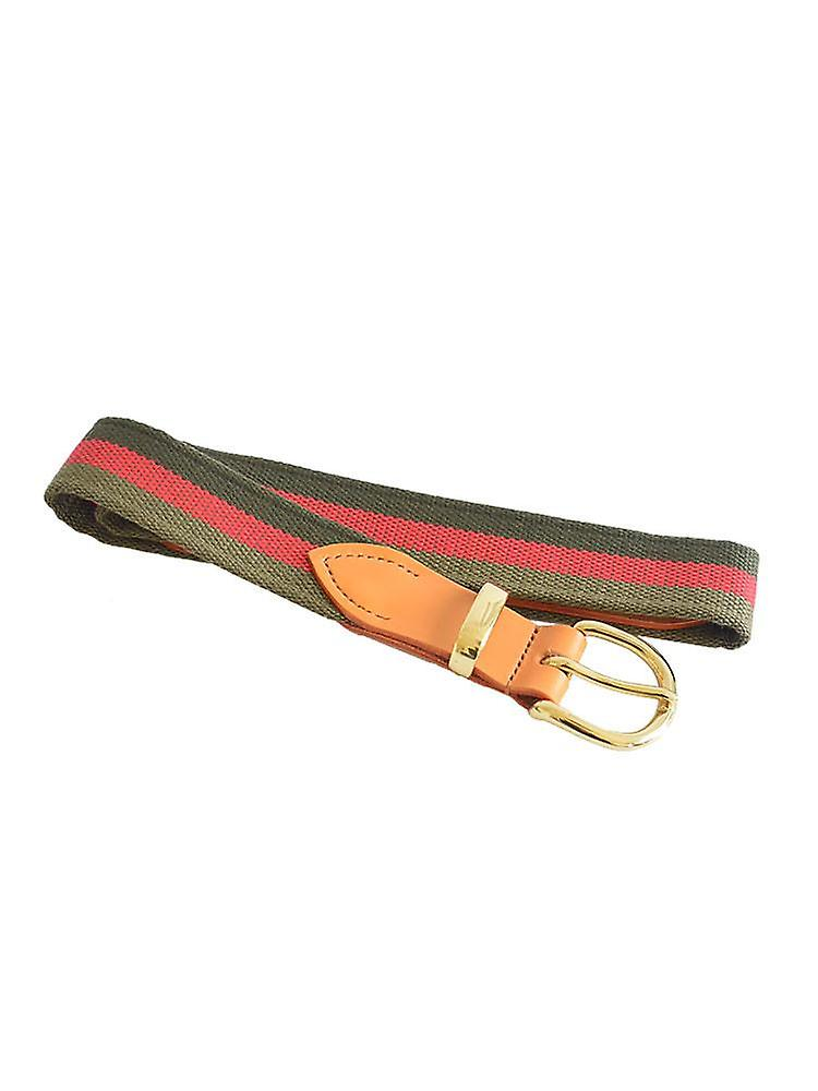 Red and green stripes woven canvas belt
