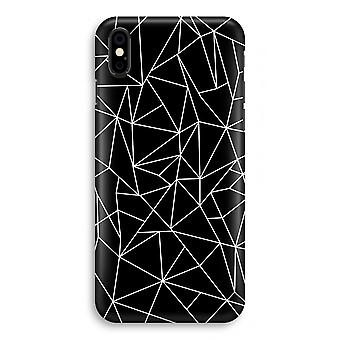 iPhone X Full Print Case - weiße geometrischen Linien