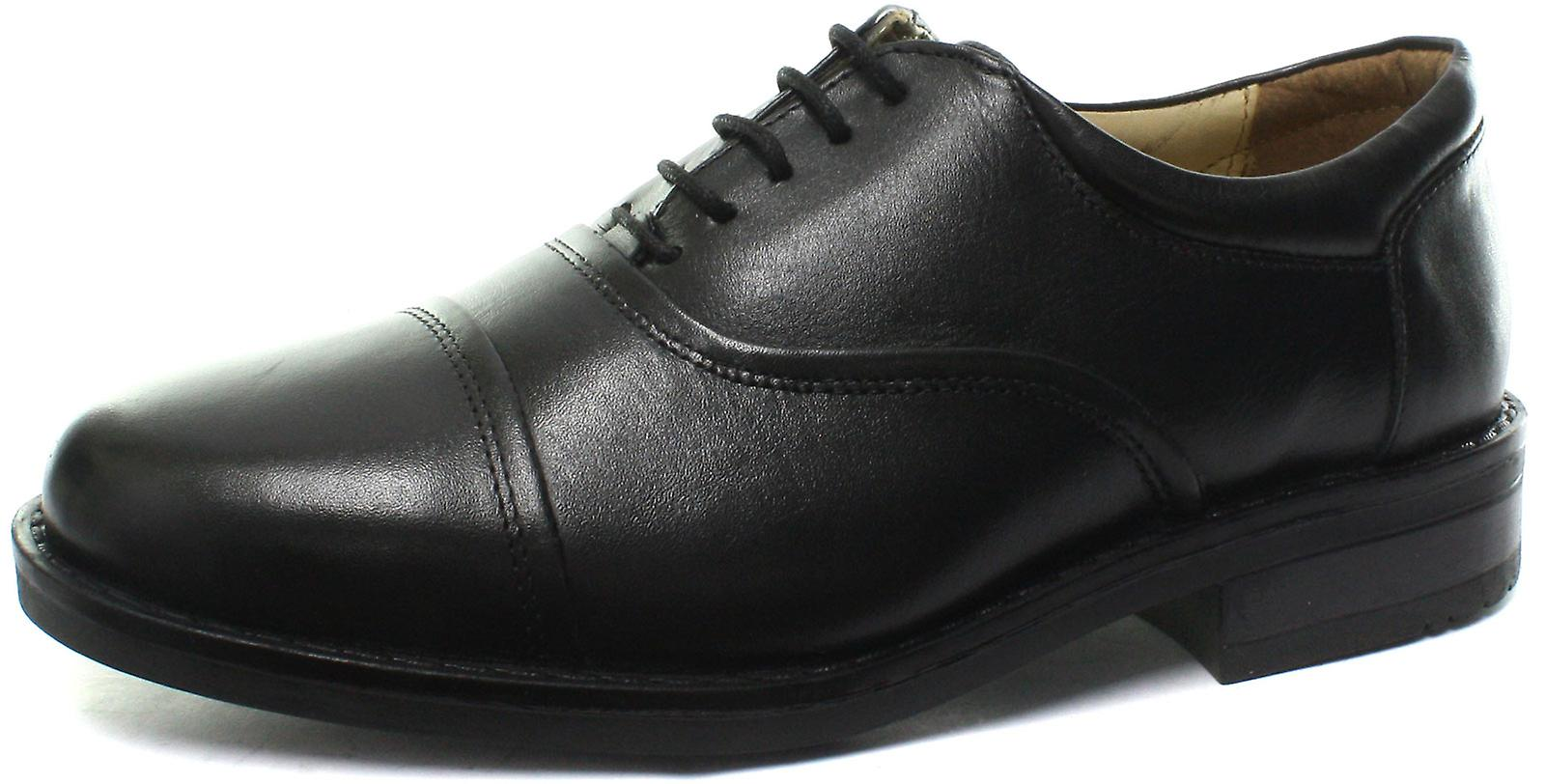 Roamers M827A Blind Eye Flexi Capped Black Mens Oxford Shoes