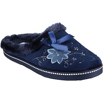 Mirak Ladies Dijon Faux Fur Accented Textile Stitch Slipper Navy