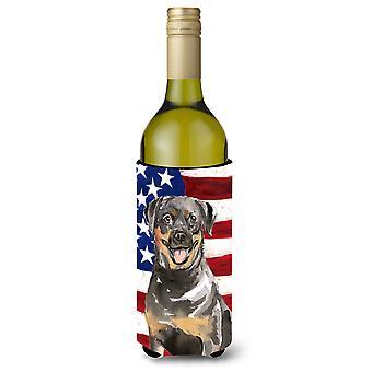 Estados Unidos patriótico Rottweiler botella de vino Beverge aislador Hugger