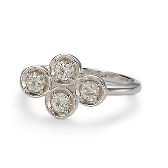 Forever Classic 3.25mm Round Moissanite Horizontal Clover Ring, 0.52cttw DEW