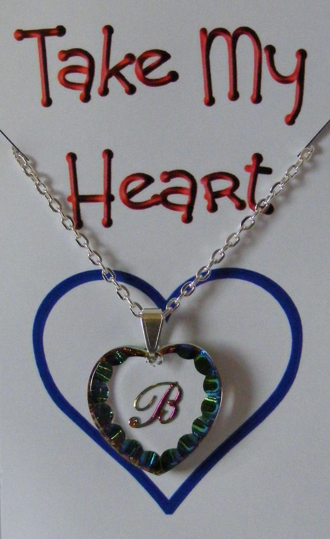Heliotrope Initial Heart Crystal Pendant - B