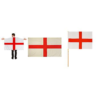 England Polyester English Flags & Flag Cape World Cup Party Accessory 3PC