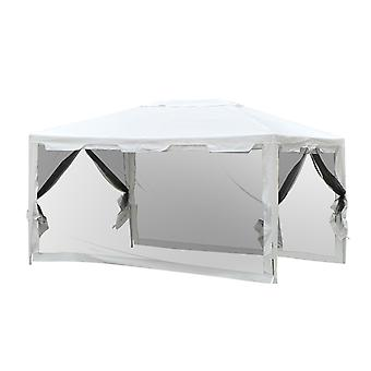 Outsunny 4 x 3m Party Tent Outdoor Gazebo Garden Canopy Party Wedding Shelter w/ Mesh Mosquito Netting (4 x 3m)