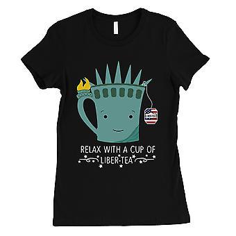 Tasse Liber-Tee Shirt Damen schwarz T-Shirt süß 4. Juli Outfit