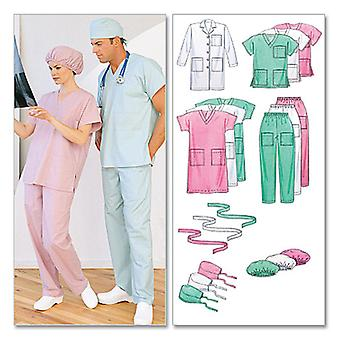 Misses'/Men's Lab Coat, Dress, Top, Pull-On Pants, Hats and -XLG-XXL -*SEWING PATTERN*