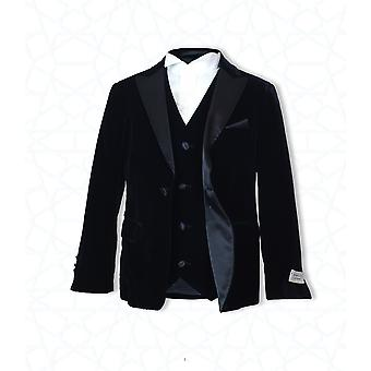 Boys Italian 3pc Velvet Black Pageboy, Wedding, Dinner Suit