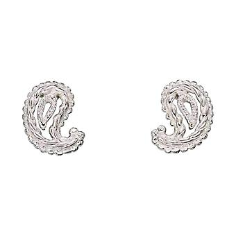 Elements Silver Textured Paisley Shape Stud Earrings - Silver