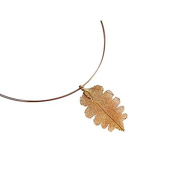 Gemshine - ladies - pendant - necklace - gold - leaf - oak - natural - 6.5 cm