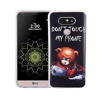 Cassa del telefono cellulare per LG G5 copertina custodia protettiva motivo sottile in silicone TPU lettering orso con motosega