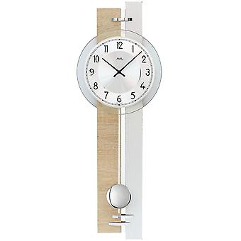 7441 AMS cuarzo de reloj de pared con péndulo péndulo plata reloj madera Sonoma óptica con cristal