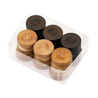 Wooden Backgammon Stones in Nautral & Brown 26mm