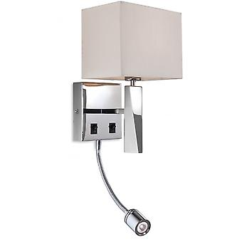Firstlight Mansion Integrated LED Reader Wall Light In Polished Stainless Steel With Cream Shade