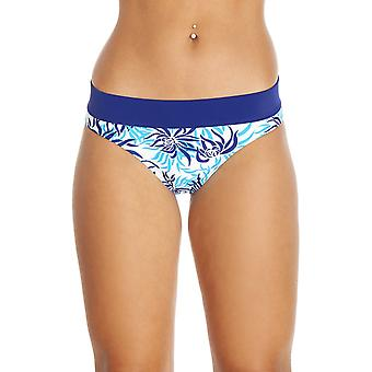 Camille Blue Floral Leaf Print High Leg White Bikini Bottoms