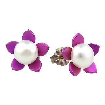 Ti2 Titanium Large Flower and Pearl Stud Earrings - Candy Pink