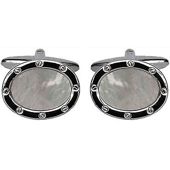 David Van Hagen Rhodium Plated Mother of Pearl Oval Porthole Cufflinks - White/Silver