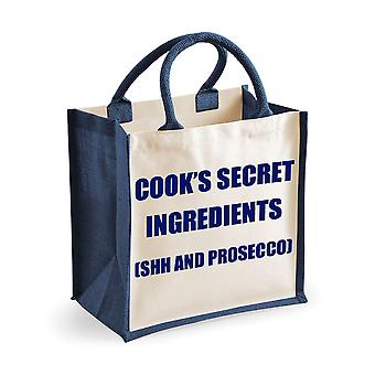 Medium Navy Jute Bag Cook's Secret Ingredients (Shh and Prosecco)