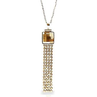 Spark Champagne Crystal Sterling Silver Mesh Pendant Necklace 16