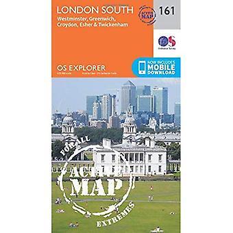 OS Explorer mapa ativo (161) sul de Londres, Westminster, Greenwich, Croydon, Esher & Twickenham (Explorer do sistema operacional ativo...