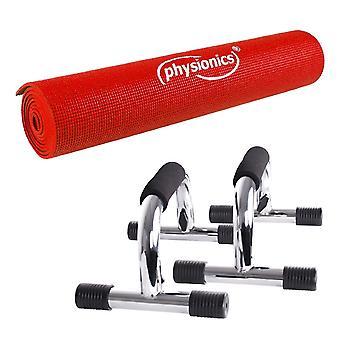 Kit fitness poignées de pompe push up + tapis de fitness 190 x 0 5 cm 0701123