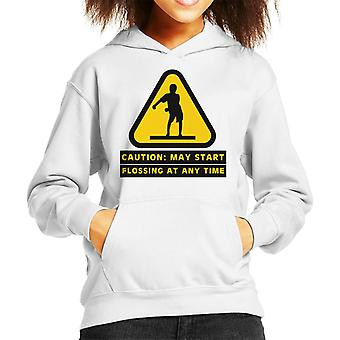 Caution May Start Flossing At Any Time Kid's Hooded Sweatshirt