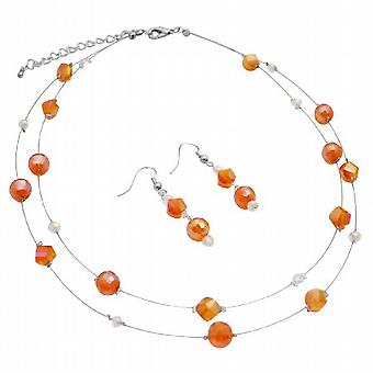 Dubbel glaspärlor strandsatta kinesiska kristaller Orange Halsband Örhängen