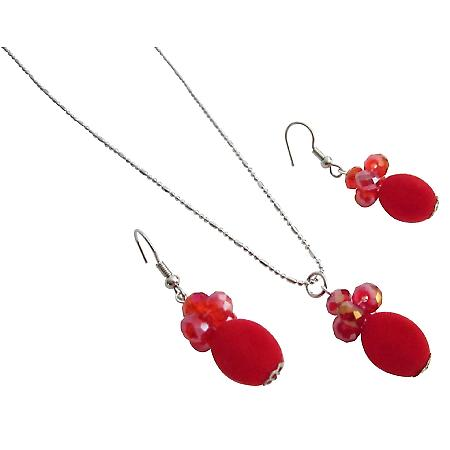 Red Velvet Bead Cluster Round Crystals Rhodium Chain Party Jewelry Set