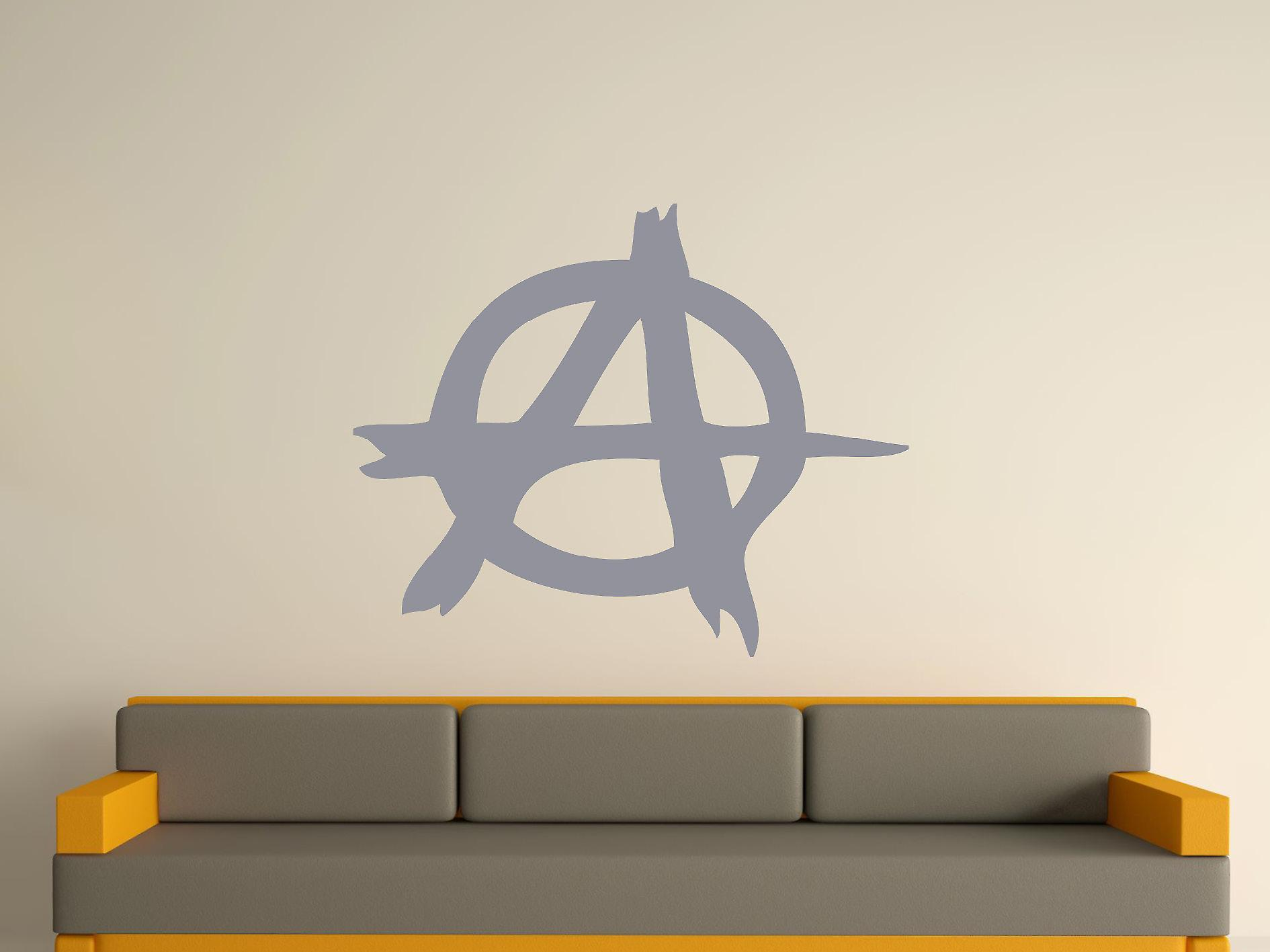 Anarchy Symbol Wall Art Sticker - Silver