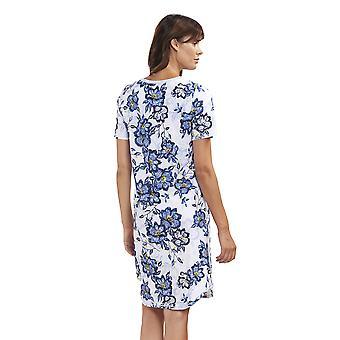 Rosch 1193144-11573 Women's New Romance Indigo Flowers Blue Floral Cotton Night Gown Loungewear Nightdress