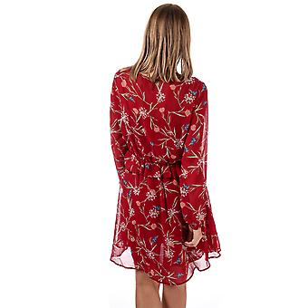 Womens Vero Moda Becca V-Neck Floral Dress In Rumba rood