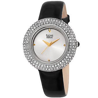 Burgi Women's Swarovski Crystal & Diamond Accented Silver & Fiery Red Leather Strap Watch BUR199SSBK