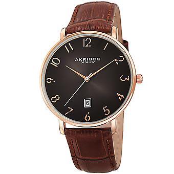 Akribos XXV AK1077RG Men's Quartz Slim Leather Strap Watch