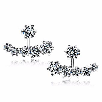 18K White-Gold Plated Daisy Halo Jacket Earrings