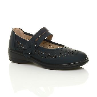 Ajvani womens flat grip sole padded cushioned mary jane hook & loop comfort shoes